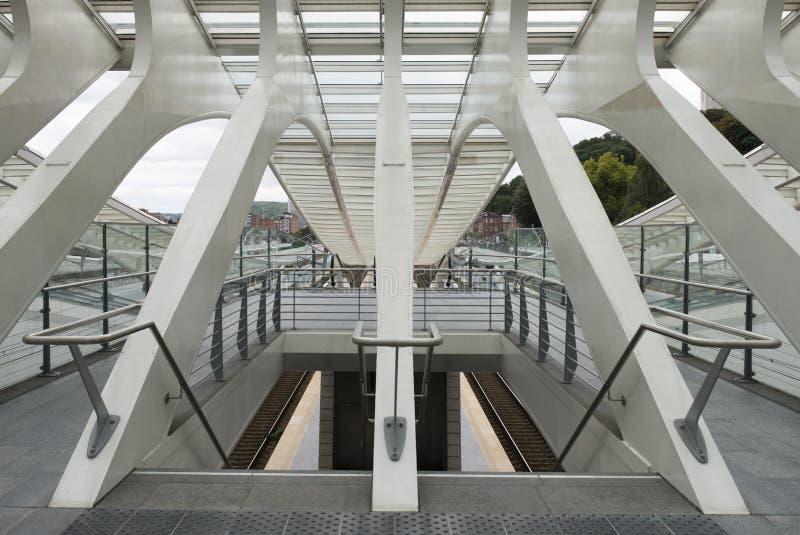 Luik-Guillemins modern järnvägsstation Liège-Guillemins fotografering för bildbyråer