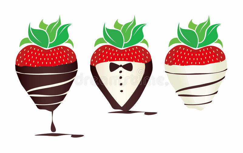 Luim chocolade-Ondergedompelde Strawbe royalty-vrije illustratie