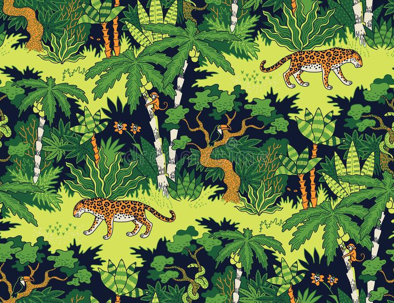 Luipaard in de wildernis royalty-vrije illustratie