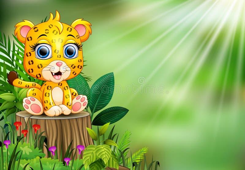 Luipaard die van de beeldverhaal de gelukkige baby zich op boomstomp bevinden met groene installaties vector illustratie