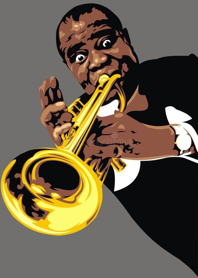 Luis Armstrong - minha caricatura original ilustração stock