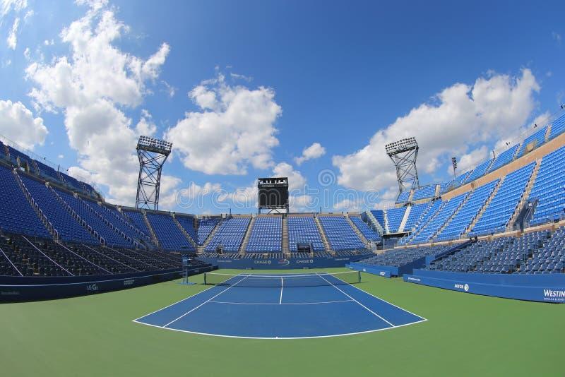 Luis Armstrong Stadium in Billie Jean King National Tennis Center tijdens US Open 2014 toernooien royalty-vrije stock afbeelding