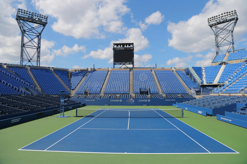 Luis Armstrong Stadium in Billie Jean King National Tennis Center tijdens US Open 2014 toernooien royalty-vrije stock foto's
