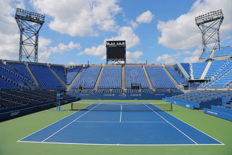 Luis Armstrong Stadium em Billie Jean King National Tennis Center durante o competiam 2014 do US Open fotos de stock royalty free