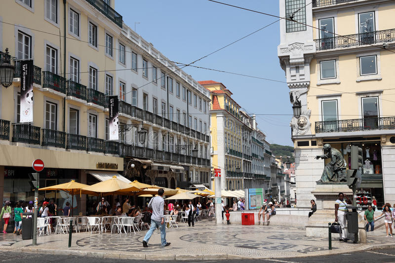 Luis de Camoes square in Lisbon stock photos