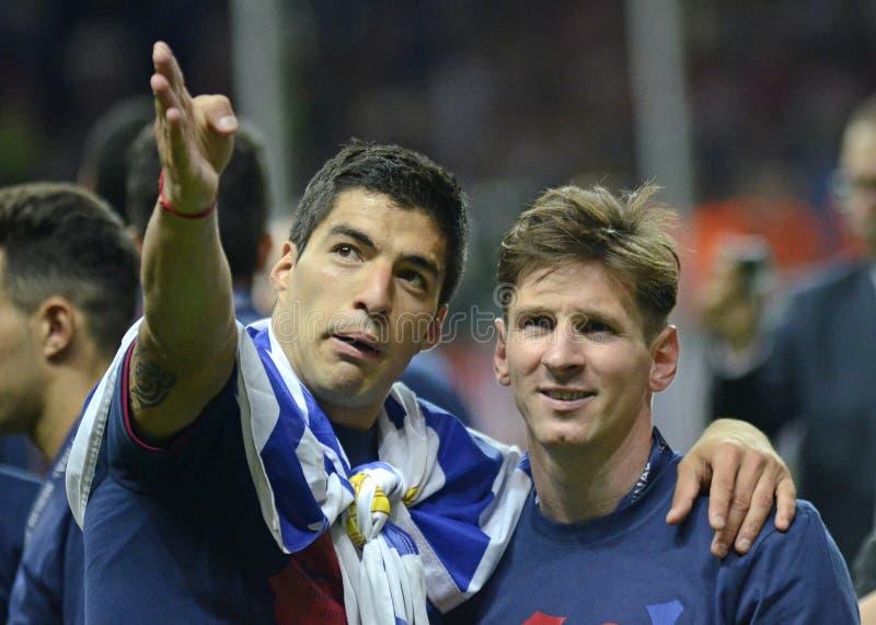 Luis Suarez et Lionel Messi image libre de droits