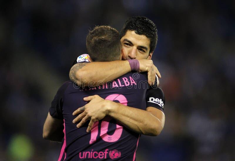 Luis SuarezR y Jorge Albal del FC Barcelona imagenes de archivo
