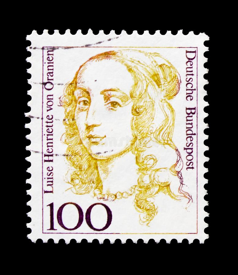 Luise昂里埃特冯Oranien 1627-1667, Brandenbourg的选举人,德国历史serie的妇女,大约1994年 图库摄影