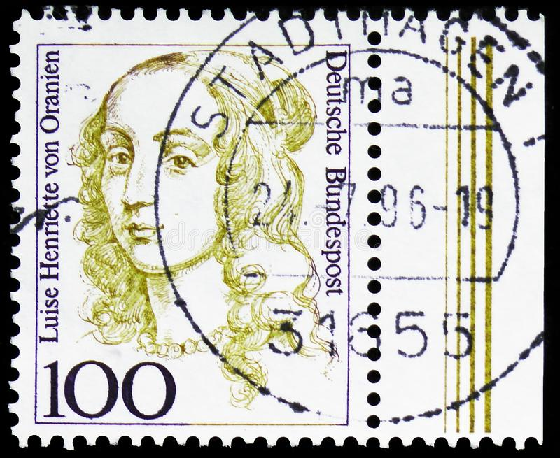Luise Henriette von Oranien 1627-1667, Elector of Brandenb, Women in German History serie, circa 1994. MOSCOW, RUSSIA - MARCH 30, 2019: A stamp printed in stock photo
