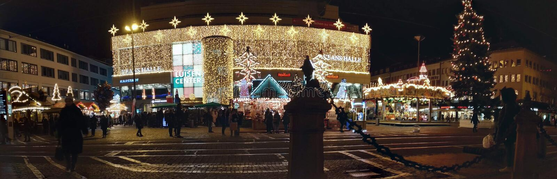 Luisen platz panorama downtown Christmas celebration Darmstadt, Germany stock photo