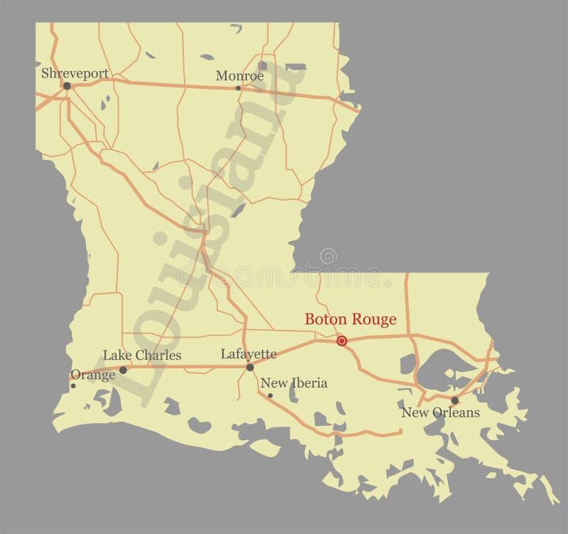 Luizjana ścisłego wektoru stanu dokładna szczegółowa mapa z Communit ilustracji