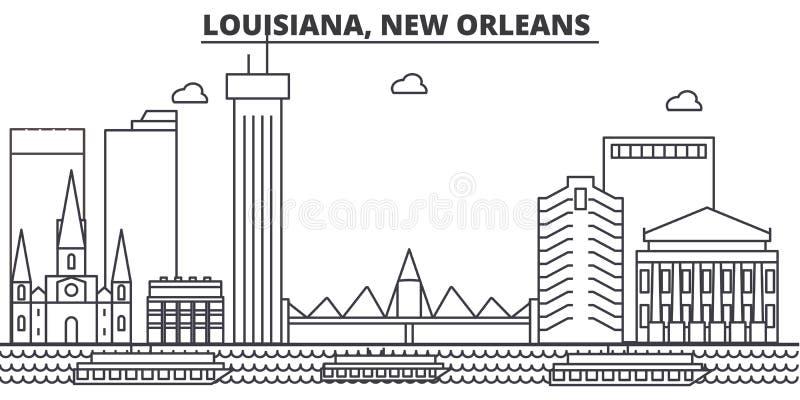 Luizjana, Nowy Orlean architektury linii linii horyzontu ilustracja Liniowy wektorowy pejzaż miejski z sławnymi punktami zwrotnym ilustracja wektor