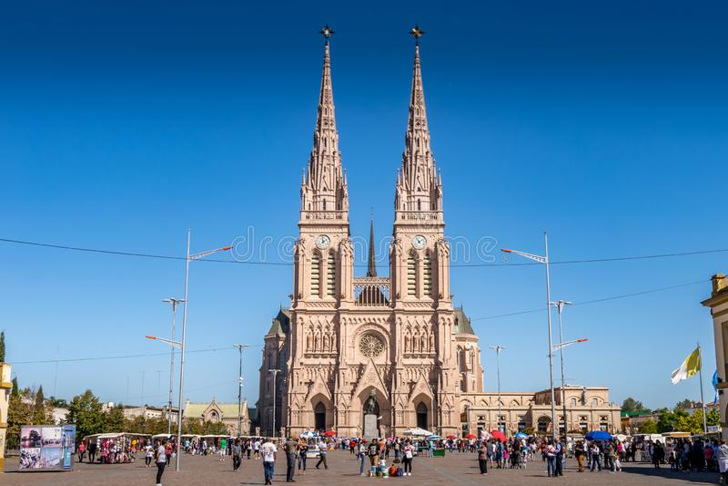 Lujan, Buenos Aires, Argentina, April 7, 2019: View Lujan Basilica near Buenos Aires, Argentina stock photography