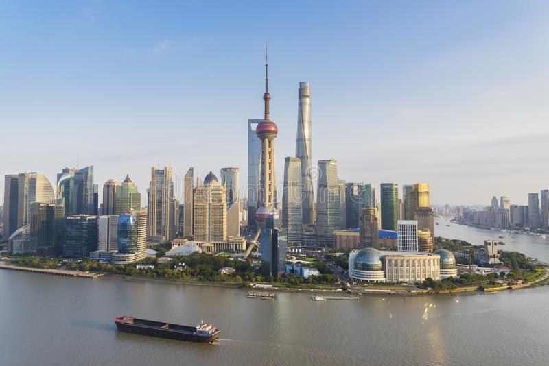 Lujiazui area of Shanghai. Shanghai, China - Nov 12, 2017: View of Lujiazui area of Shanghai in late afternoon. It is the finanical district of Shanghai, with stock images