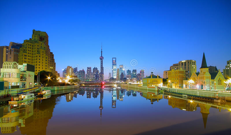 Lujiazui Finance&Trade Zone of Shanghai at New landmark skyline royalty free stock images