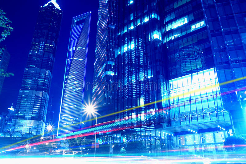 Lujiazui Finance & Trade Zone Urban Landscape. Shanghai Lujiazui Finance & Trade Zone modern city night background royalty free stock images
