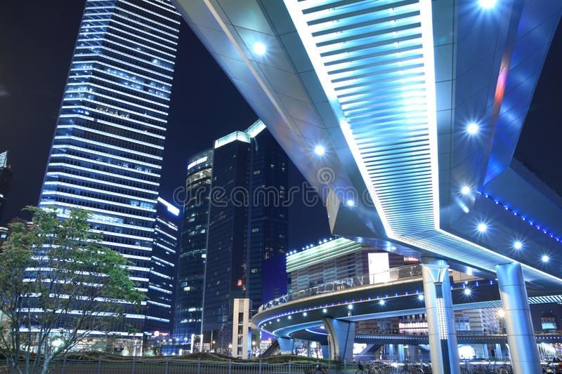 Lujiazui Finance & Trade Zone Urban Landscape. Shanghai Lujiazui Finance & Trade Zone modern city night background royalty free stock photography