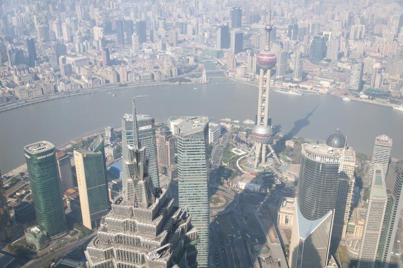 Lujiazui Pudong i Puxi Szanghaj zdjęcia royalty free