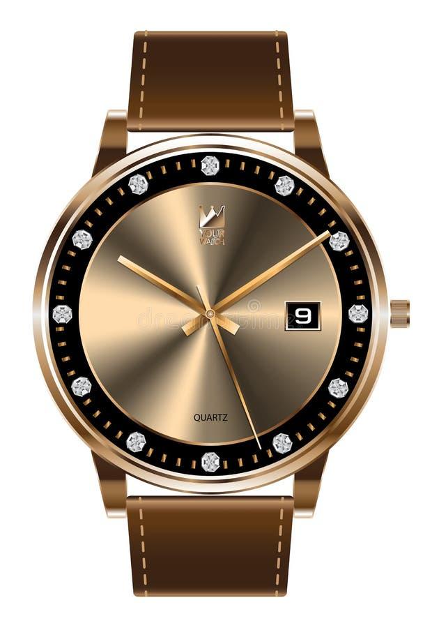 Lujo de la correa de cuero del marrón del diamante del reloj del oro en el vector blanco del fondo stock de ilustración