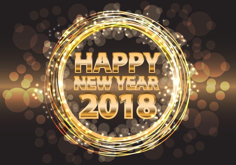 Lujo 2018 del oro de la Feliz Año Nuevo en el diseño de la noche para el vector del cerebration del festival del día de fiesta ilustración del vector