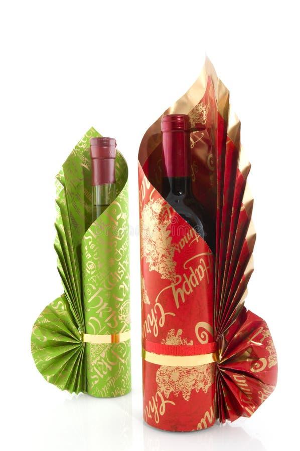 Lujo del vino de las botellas envuelto fotografía de archivo