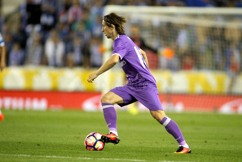 Luka Modric of Real Madrid. During a Spanish League match against RCD Espanyol at the RCDE Stadium on September 18 2016 in Barcelona Spain royalty free stock photos
