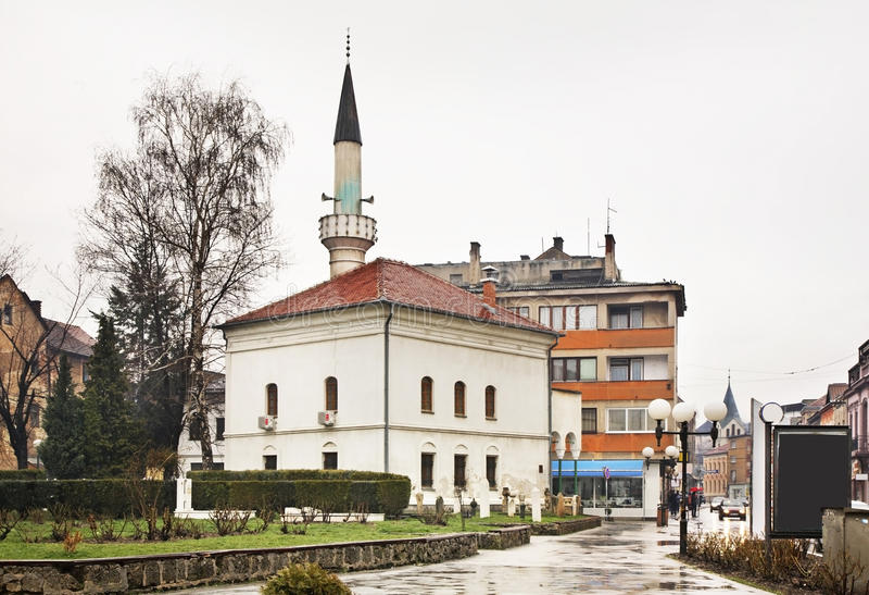 Lukacka清真寺在特拉夫尼克 达成协议波斯尼亚夹子色的greyed黑塞哥维那包括专业的区区映射路径替补被遮蔽的状态周围的领土对都市植被 免版税库存照片