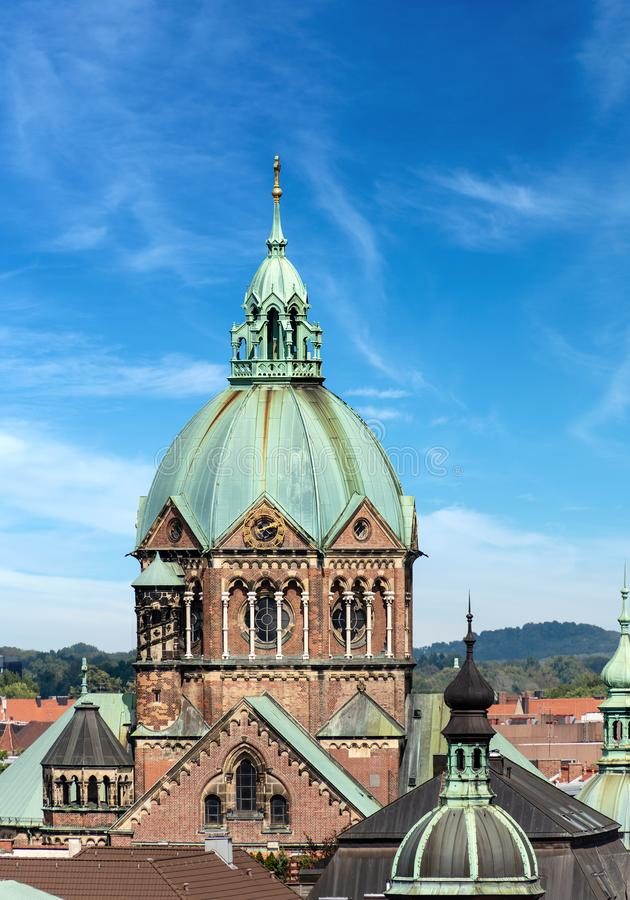 Lukaskirche - Saint Luke`s Church - Munich Germany. Lukaskirche Lukas kirche - The Saint Luke`s Church, largest Protestant church in Munich, southern Germany stock photography