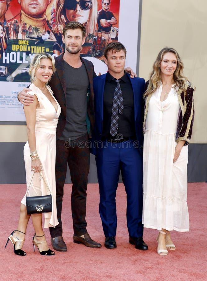Luke Hemsworth, Samantha Hemsworth, Elsa Pataky i Chris Hemsworth, zdjęcia stock