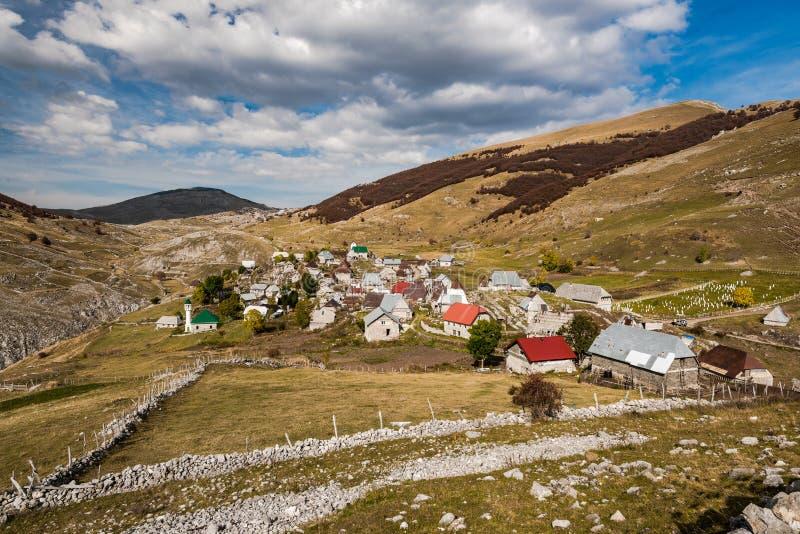 Lukomir, last Bosnia unspoiled village in remote mountains.  stock photo