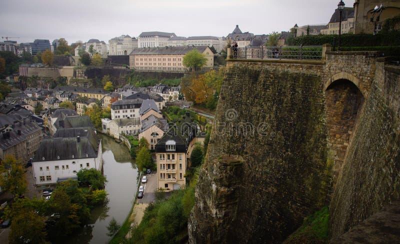 Luksemburg ściany i miasto obraz stock