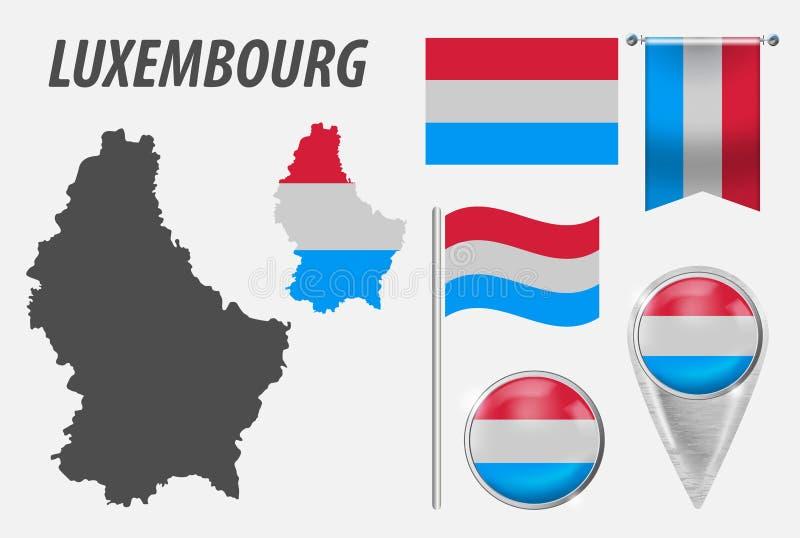 Luksemburg Kolekcja symbole w kolor fladze pa?stowowej na r??norodnych przedmiotach odizolowywaj?cych na bia?ym tle Flaga, pointe ilustracji