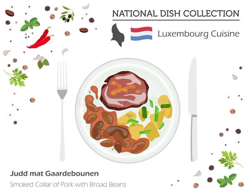 Luksemburg kuchnia Europejska krajowa naczynie kolekcja Uwędzony co ilustracji