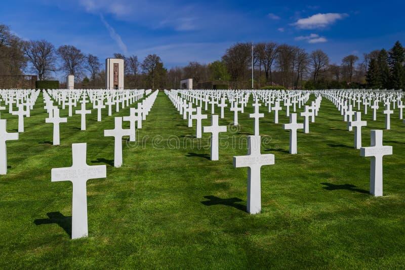 LUKSEMBURG, KWIECIEŃ - 20, 2017: Amerykański pamiątkowy cmentarz świat obrazy stock
