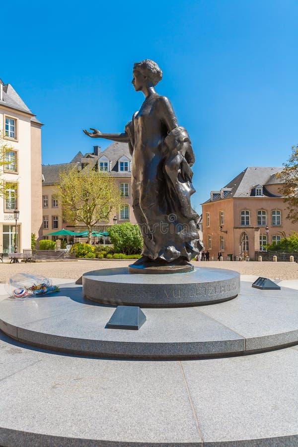 LUKSEMBURG, KWIECIEŃ - 7, 2008: Zabytek Uroczysty Duchess Charlotte obrazy stock