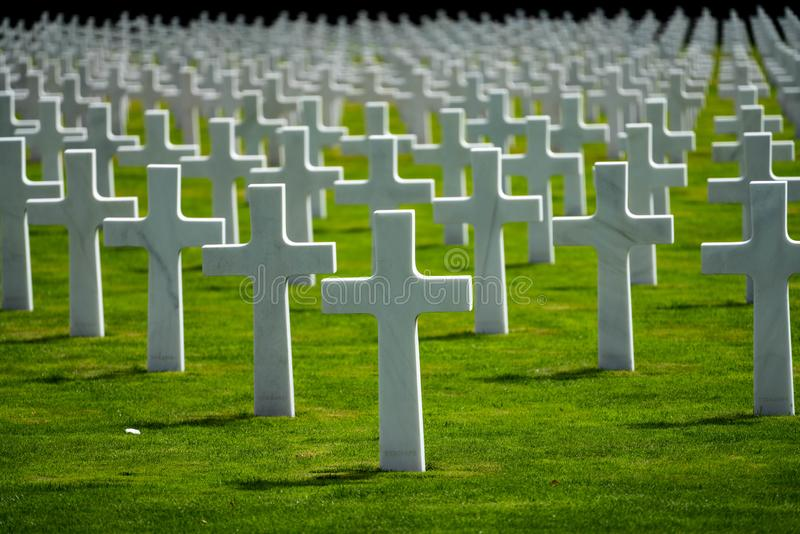 Luksemburg pomnika & cmentarza Amerykańscy krzyże obraz royalty free