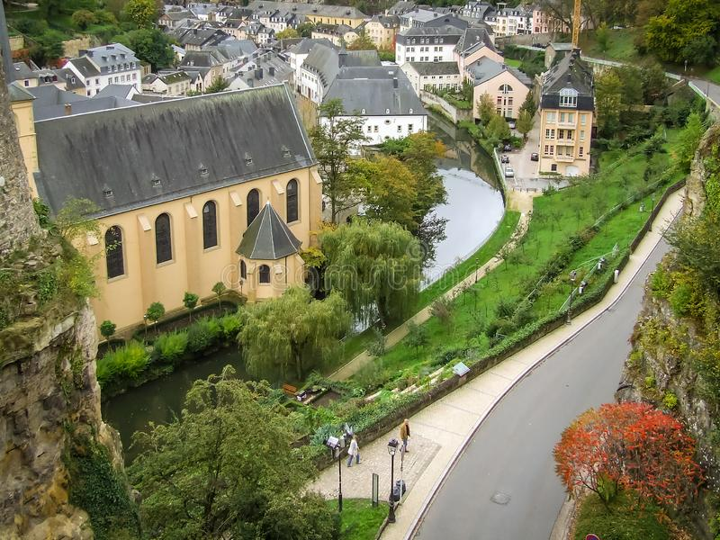 Luksemburg, widok szary dach fotografia royalty free