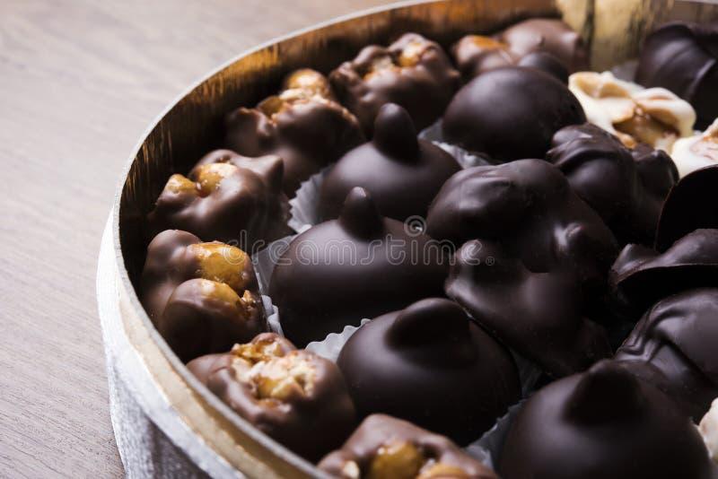 Luksus mieszane czekoladowe trufle na drewnianym tle fotografia stock