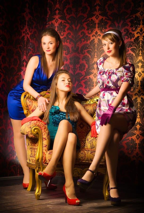 luksus wewnętrzne kobiety trzy zdjęcia stock