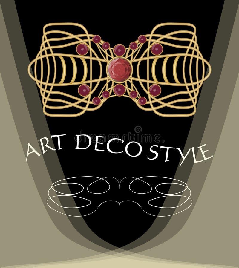 Luksusowa art deco broszka z czerwonymi klejnotami rubin lub garnet royalty ilustracja