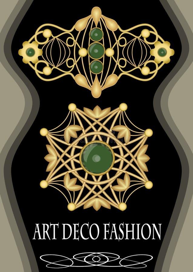 Luksusowa art deco broszka z zielonym klejnotu szmaragdem, moda w wiktoriański stylu, antykwarski klejnot ilustracja wektor