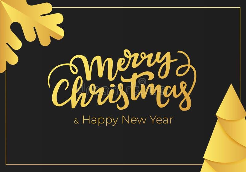 Luksusowa bożych narodzeń i nowego roku kartka z pozdrowieniami z złocistej folii dekoracjami na tle czarny luxe papier ilustracji