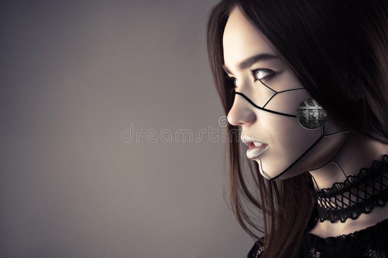 Luksusowa cyberpunk dziewczyna z mody makeup zdjęcie stock