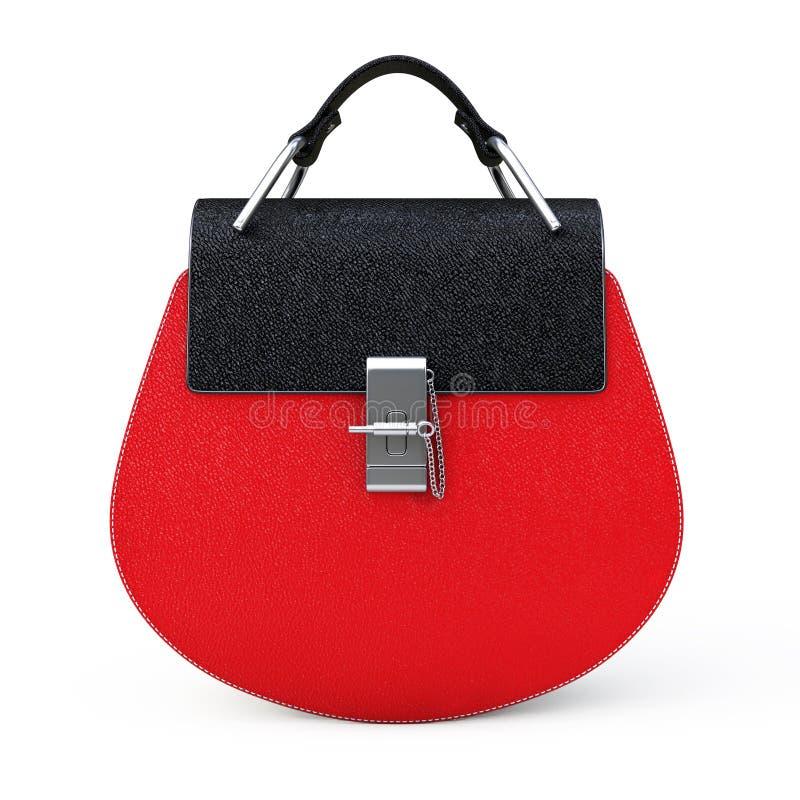 Luksusowa Czerwona Rzemienna kobiety torba świadczenia 3 d ilustracja wektor