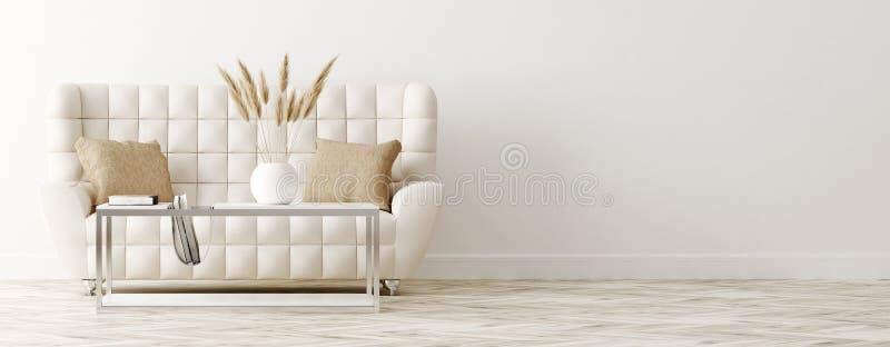 Luksusowa kanapa w klasyka stylu żywym izbowym wnętrzu, panoramiczny widok royalty ilustracja