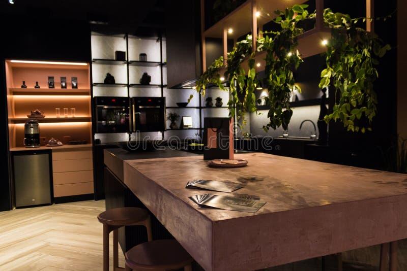 Luksusowa kuchnia w czerni i wzrastał fotografia royalty free