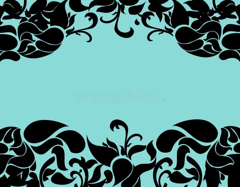 Luksusowa kwiecista rama z turkusowym tłem zdjęcia stock