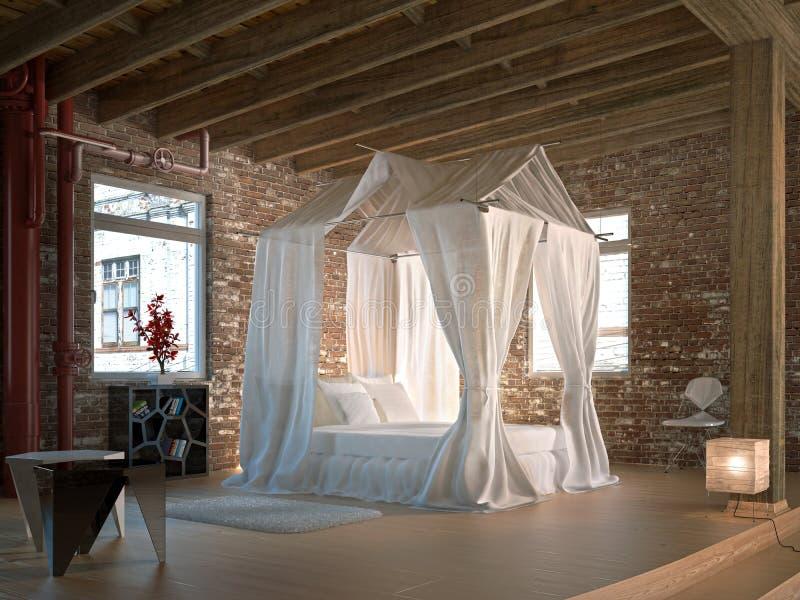 Luksusowa loft sypialnia, z cztery plakatów łóżkiem. zdjęcie stock
