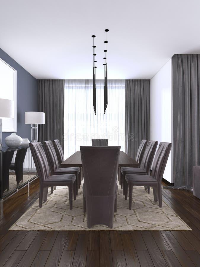Luksusowa nowożytna jadalnia szczyci się drewnianego łomota stół iluminującego breloczka światłami i otaczającego brązu rzemienny royalty ilustracja