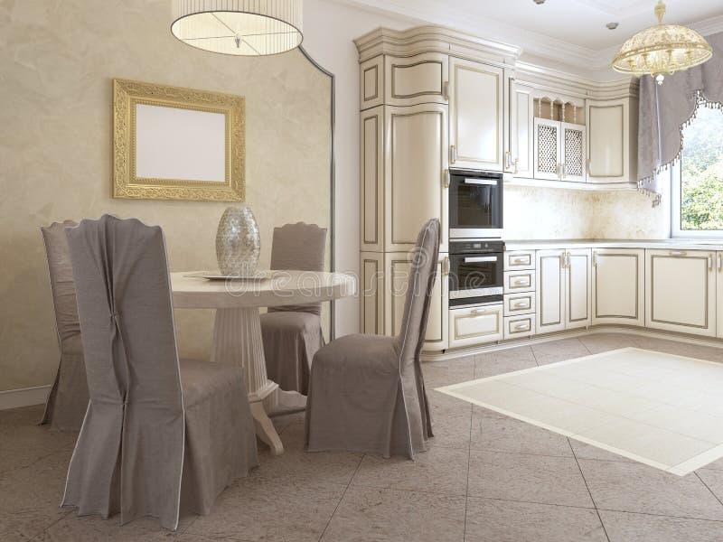 Luksusowa nowożytna kuchnia w klasyka stylu w bielu barwi z łomota stołem dla cztery ludzi ilustracja wektor